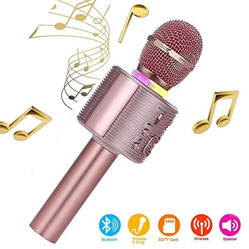 Karaoke-Mikrofon, Bluetooth, kabellos, Karaoke-Mikrofon für Kinder, paarbar für Duetten mit bunten Lichtern, Geschenk für 5 Jahre alte Jungen (Rose Gold)