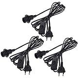 3x Smartfox Netzkabel mit Schalter und E14 Lampenfassung incl. Schraubring in schwarz 3,2m