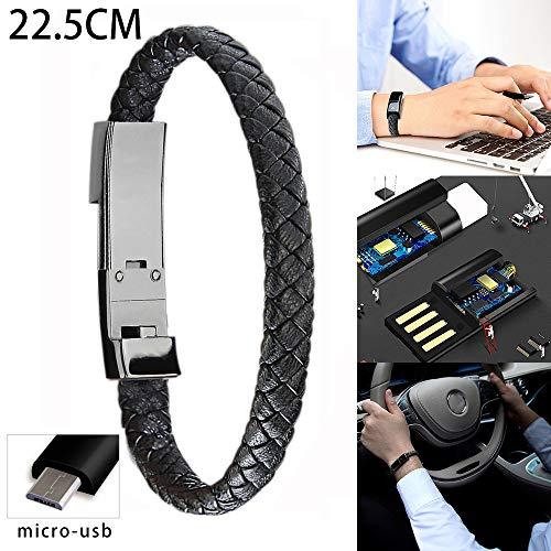 Y56 Mode Sport-Armband Mikro-USB/Type-C Ladegerät-Kabel für Telefon-Daten-Linie Draht Portabl Kabel (22.5 cm, Micro USB)