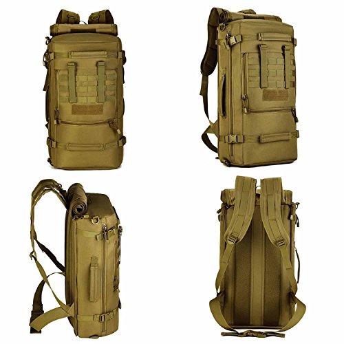 Cinmaul tattico militare molle sistema zaino Assault Pack 3Way Modular attacchi 50L grande impermeabile borsa zaino Outdoor Gear per ciclismo campeggio trekking, Uomo, Desert Camouflage Desert Camouflage