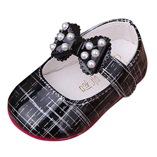 (Hirolan Kleinkind Kinderschuhe Baby Mädchen Prinzessinnen Schuhe Bogen Weich Freizeitschuhe Streifen Flache Schuhe Perlen Sandalen Turnschuhe für Cosplay Party Geburtstag)