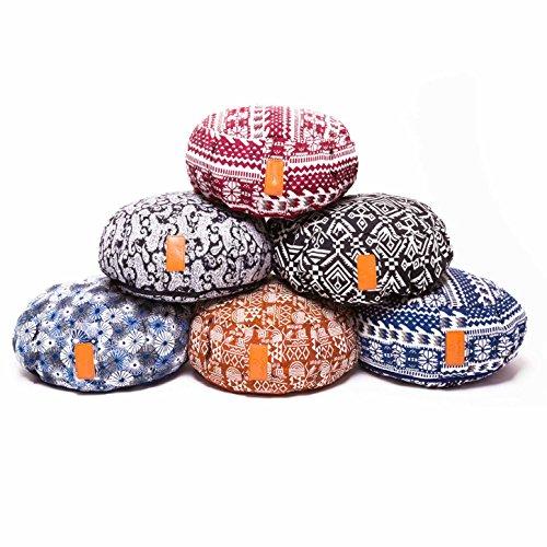 Yogakissen »Brahman« mit Reißverschluss & Bio-Dinkelspelz (kbA) Füllung - Maße: ca. 42 x 15 cm - ideal als Zafukissen / Meditationskissen / Rondokissen / Meditiationsunterlage :: waschbarer Bezug / hoher Sitzkomfort Stlye (5)