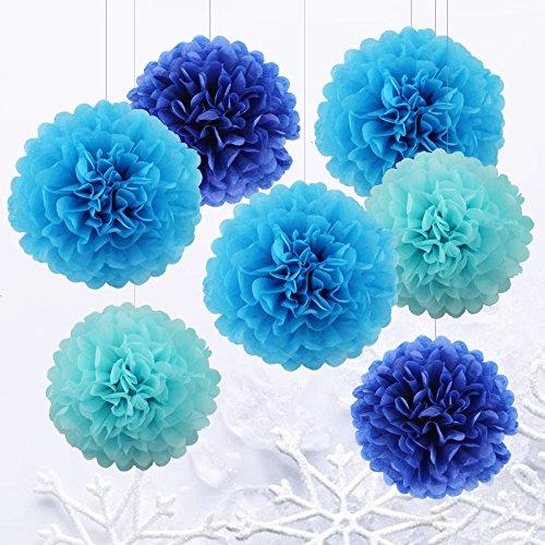 Set di 7 da 25cm e 35cm pom poms di carta velina, appesi pon pon fiore blu di carta per la festa di natale e matrimonio per festa bambina nuziale e vivaio decorazioni per la casa ¨c blu / blu scuro/ azzurro
