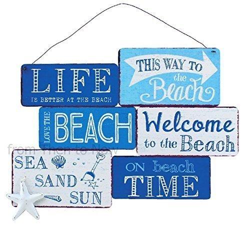 large blue white nautical beach metal sign