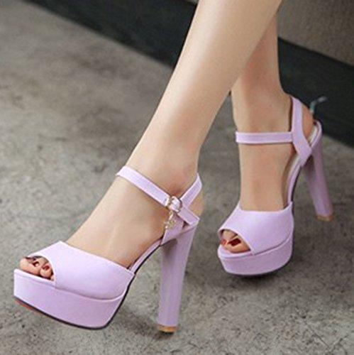 Aisun Femme Mode Talon Bloc Haut Plateforme Sandales Avec Boucle Violet