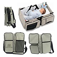 MAYZERO 3 in 1 Baby Changing Bags Travel Bassinet Diaper Bags Portable Crib Changing Station, Tote Bag, Nappies Bag Changing Infant Carrycot Bed (Tan)