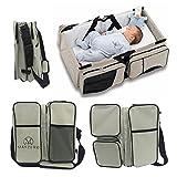 MAYZERO 3 en 1 cuna de viaje bolsas de pañales y cuna portátil Cambio de estación, bolsas de mano, Pañal para bebés Capazo cama(Tan)