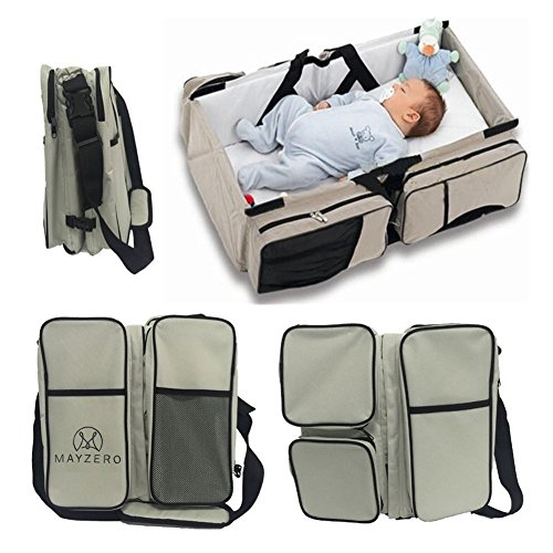 MAYZERO 3 in 1 Baby Changing Bags Travel Bassinet Diaper Bags Portable Crib Changing Station Tote Nappies Bag Changing Infant Carrycot Bed 51odD4Htk6L