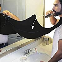 Silingsan Barba Grembiule, Beard Apron Cattura Barba e Capelli, Grembiule con Ventose per Specchio Lasciate Che Il Vostro Bagno Pulire - Nero