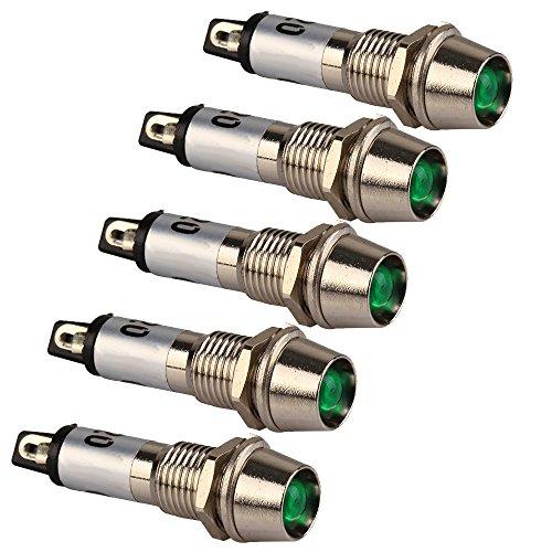 WEONE XD8-1 metal Shell verde 8mm panel AC220V de la se?al de alimentaciš®n Indicador de Luz de advertencia LED para vehšªculos (Pack de 5)