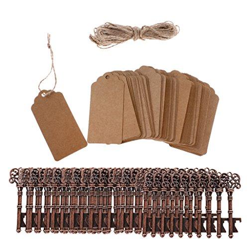 Baoblaze 100 Set Etiquetas de Reglao con Cordón Abrebotellas Diseño Llave Regalos de Fiesta de Banquetes