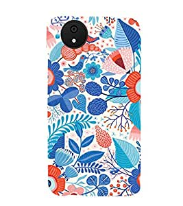 MULTICOLOURED FLORAL PATTERN WITH A BLUE BACK GROUND 3D Hard Polycarbonate Designer Back Case Cover for Micromax Android A1::Micromax Canvas A1 AQ4502