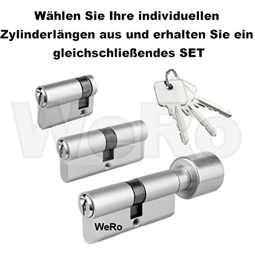 Schließzylinder für gleichschließendes SET / Längen frei kombinierbar Doppelzylinder A:30mm B:30mm
