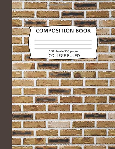 Composition Book: Brick Wall Pattern 4: Blank College Ruled Notebook - Rack Blue Hat Wall