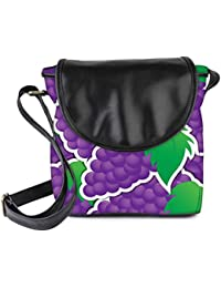 Snoogg Purple Grape Sticker Background Card In Vector Format Womens Sling Bag Small Size Tote Bag