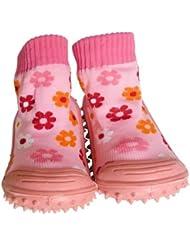 C2BB - Chaussons-chaussettes enfant antidérapants semelle souple fille   Petites fleurs rose