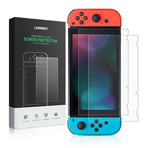 UGREEN Schutzfolie HD Folie unterstützt für Nintendo Switch [2 Stück], 9H Härte Displayschutzfolie aus gehärtetem Glas, dünnere blasenfreie kratzfeste Folie unterstützt für Nintendo Switch 2017