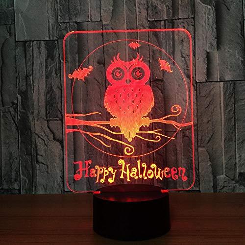 LLXPDZ 3D Nachtlicht Happy Halloween Owl Led Lampe 7 Farben Für Kinder Touch Usb Tischlampe Baby Sleep Nightlight (Halloween-musik Happy Für Kinder)
