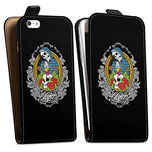 Apple iPhone X Silikon Hülle Case Schutzhülle Joker - Mary Blumen Totenkopf Downflip Tasche schwarz