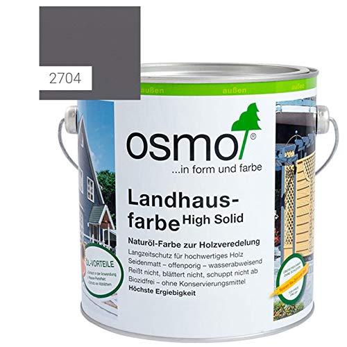 OSMO Landhausfarbe High Solid, hochdeckende Holzfarbe, 2704 steingrau, Sondergröße 1 Liter