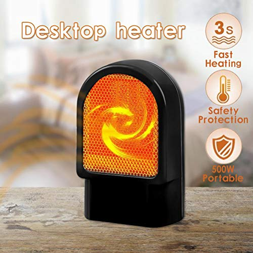 Macabolo - Mini calefactor eléctrico para escritorio, 500 W, portátil, para uso personal, para uso...