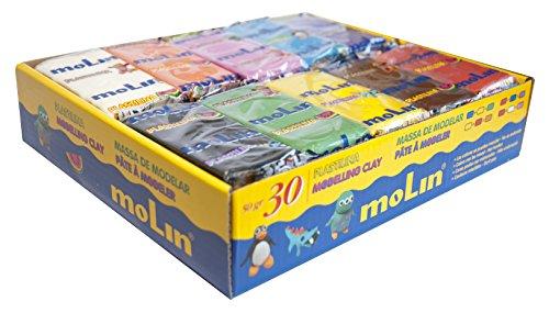 Molin PTL976 - Pack de 30 plastilinas, multicolor