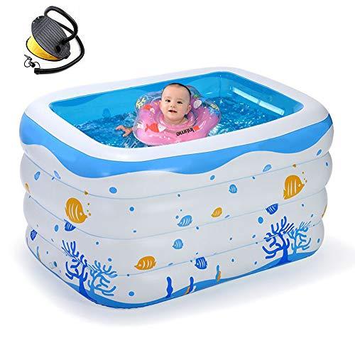 Thole Rechteck Aufblasbares Swimming Center Gedruckter Pool GroßE Verdickung Family Lounge Badewanne Planschbecken Outdoor Garden 120x105x75cm