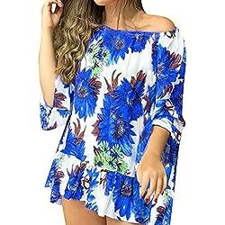 Vimoli Col-Slash Tee Shirt Femmes Décontractée Imprimé Floral Chemisier Court Top Lâche Hauts Élégant Hauts Manche(Bleu,Fr-44/XXL)