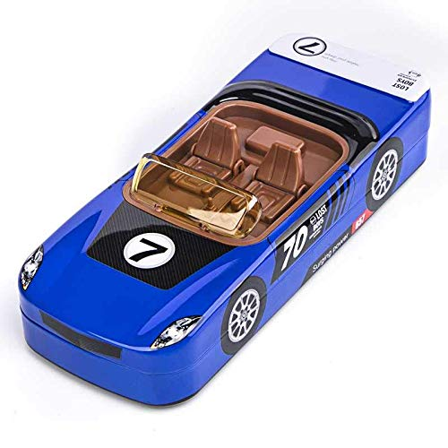 SILLYME Metal Car Shaped Pencil Box case with Wheels & Movable car Seats (Blue) | Pencil Box for Boys