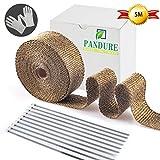 Pandure Hitzeschutzband Basaltfaser Auspuffband 10M mit Kabelbinder für Fächerkrümmer Thermoband Krümmerband (Gold 5M)