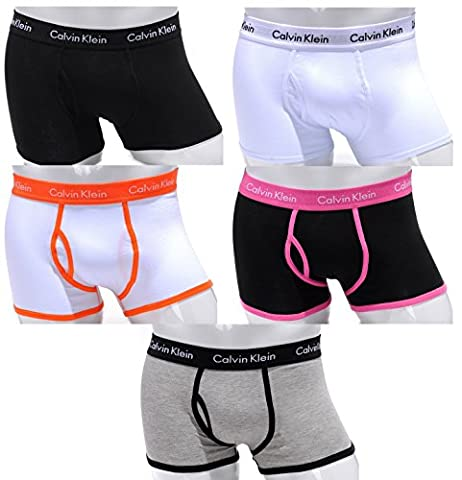 Calvin Klein 365 - Boxer en coton pour hommes taille basse - Lot de 5 - Tailles: S(4) - M(5) - L(6) - XL(7) - Nouveau - (Pack 5S (1 Noir -Noir - 1 Blanc-Blanc- 1 Blanc-Orange - 1 Blanc-Rose- 1 Noir-gris), S)