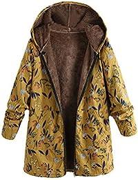 VJGOAL para Mujer de Invierno Casual cálido Grueso Outwear Moda Bolsillos con Capucha con Estampado Floral Vintage Abrigos de Gran tamaño