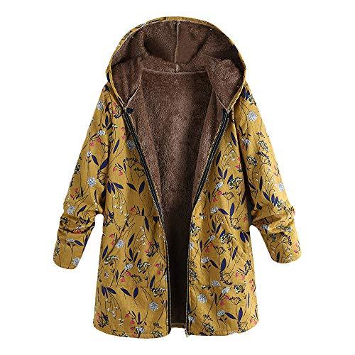 Langarmshirt Loose Oberteil Jacke Bluse Malloom, Damen Winter Warm Outwear Blumendruck Mit Kapuze Taschen Vintage Über Größe Mäntel