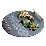 Kitchencraft Masterclass Artesà Rond Ardoise Plateau de Service avec poignées et Motif décoratif, 30cm (30,5cm), Gris