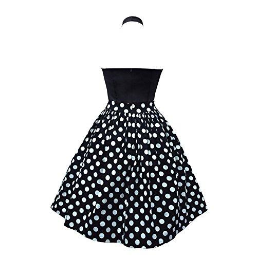 Wealsex Damen Retro Audrey Hepburn kleid Polka Dots Neckholder abend Schwarz