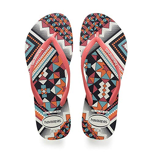 Havaianas Slim Tribal, Chanclas para Mujer, Multicolor White/Coral New Fluor, 35/36 EU