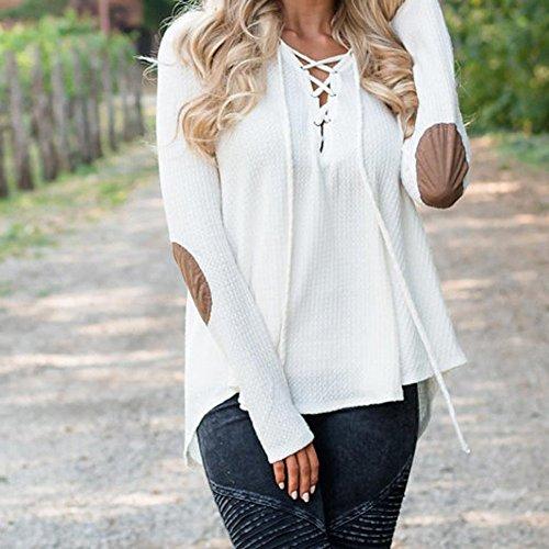 Meedot Femmes T-Shirt Tops Arrêtezvous Sweat-Shirt - Ladie Décontractée T-Shirts De Base Chemise Longue Manche Chemise Printemps L'Automne Hiver Chemisier Noir Rose blanc Beige S - XL Blanc