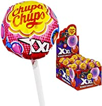 Chupa Chups XXL Lollipop with Bubble Gum Strawberry Flavour Box 25 Pcs (25 X 29g), 725g