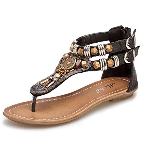 Ularma Damen Flache Sandalen Retro PU Leder Rubber Sohle mit Reißverschluss Lässige Schuhe Schwarz