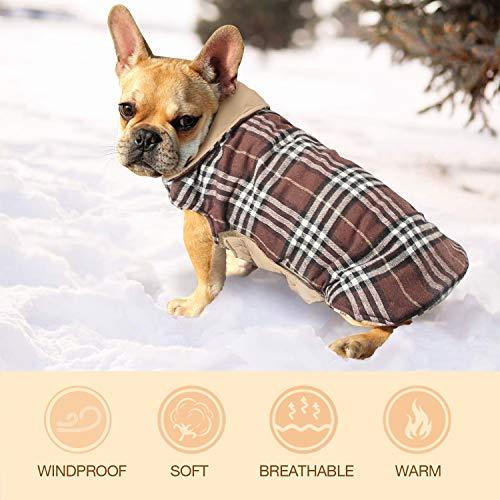 Haustier Hund Plaid Jacke Hoodie Mantel Pullover Schneefest Kleidung Herbst Winter Kleidung Warm Gepolsterte Wendeauflage Apparel Weste Kleidung Hunde mantel Brustschutz für Hunde (L,Braun) - 5