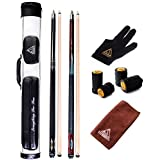 CUESOUL Combo Set Of House Bar Pool Cue Sticks - 2 Cue Sticks Packed In 2x2 Hard Pool Cue Case E204