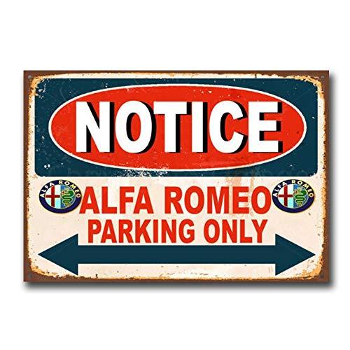 BNTN Notice Alfa Romeo Parking Only Car Auto Garage Vintage Retro Tin Sign Metal Sign Metal Poster Metal Decor Wall Sign Wall Poster Wall Decor