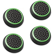 Fosmon (4 paquete / 2 Par) Analog Controller silicona Palo Grips Cap Joystick Thumb Stick funda para PlayStation 4 / PS4 Dualshock, PS3, Xbox One / One X, Xbox 360 y Wii U gamepad - Fosmon empaquetado (Negro / Verde)