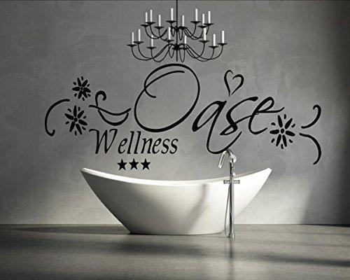 XXL Türaufkleber Wandtattoo Wellness Oase fürs Badezimmer WC 72021-150×58 cm, Beschriftung, Wandaufkleber Aufkleber für die Wand, Tapetensticker aus Markenfolie, 32 Farben wählbar