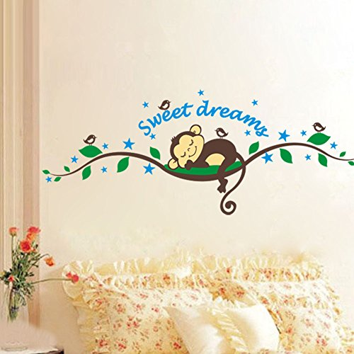 sweet-dreams-arbre-brach-lovely-singe-nurery-chambre-babyroom-decoration-sticker-mural-sticker-mural