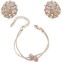 Da donna Bling Jewelry–Set 18ct placcato oro rosa cristalli pavimentazione palla orecchini e braccialetti allungato