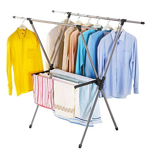 Wäscheständer mit faltbarem \'X\' Typ Edelstahl Wäscheständer Wäscheleine Versenkbarer Wäscheständer 96~155cm Kleiderbügel Trocken Handtuchhalter für drinnen oder draußen max. Laden Sie 100 kg