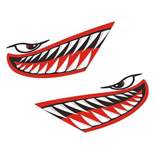Descripción:      2 piezas de vinilo de alta calidad dientes de tiburón dientes calcomanías adhesivas de decal   Impermeable, autoadhesivo, muy fuerte y duradero, tomará una paliza de muelles y remolques y agua salada   Fácil de aplicar y qui...