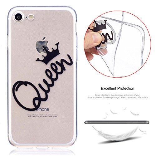 Coque iPhone 7, MSK® Silicone Soft Clear TPU Case Cover Souple de Protection Coque Flexible Lisse Couverture Anti Rayure Anti Choc Bumper Coque Housse Etui Pour iPhone 7 - Cheval rose Reine