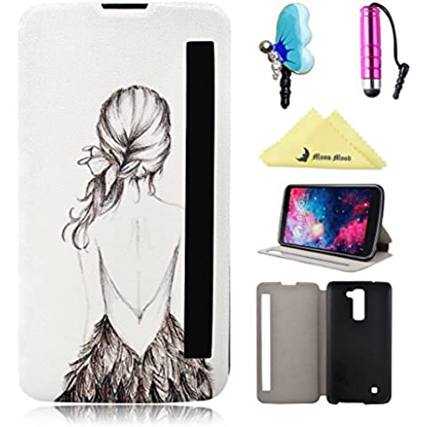 Cover per LG K10 View Window Custodia Case, Moon mood® Flip Wallet Stand Pelle PU Custodie Cover Per LG K10